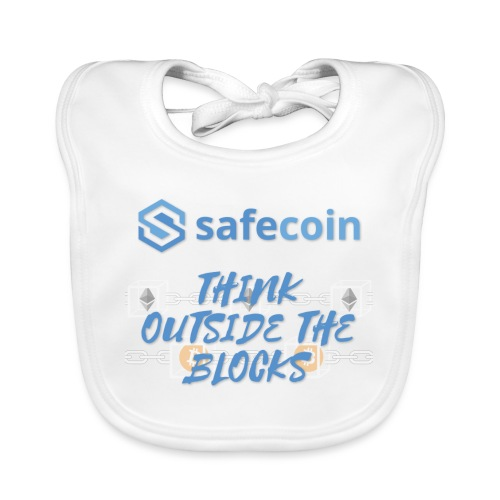 SafeCoin; think outside the blocks (blue) - Baby Organic Bib