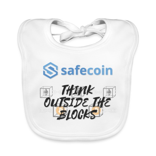 SafeCoin; Think Outside the Blocks (black + blue) - Baby Organic Bib