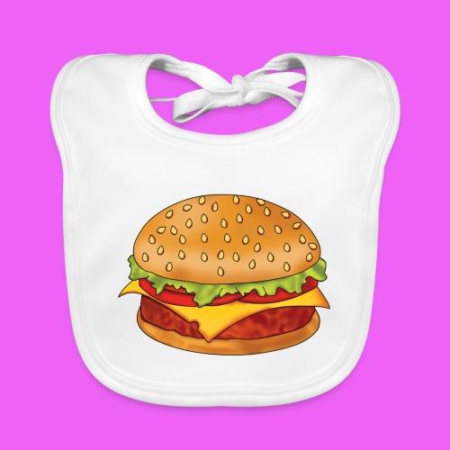 hamburguesa - Babero de algodón orgánico para bebés