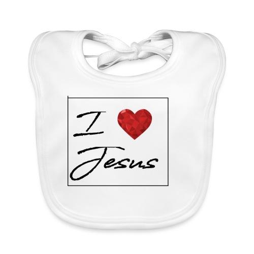I LOVE JESUS I Christliches Tshirt Ich liebe Gott - Baby Bio-Lätzchen