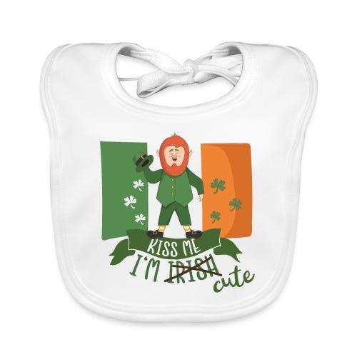 Kiss Me I'm Irish and Cute - Funny Leprechaun - Baby Organic Bib