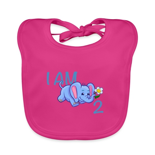 I am 2 - elephant blue - Organic Baby Bibs