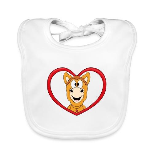 Lustiges Pferd - Pony - Herz - Liebe - Love - Fun - Baby Bio-Lätzchen