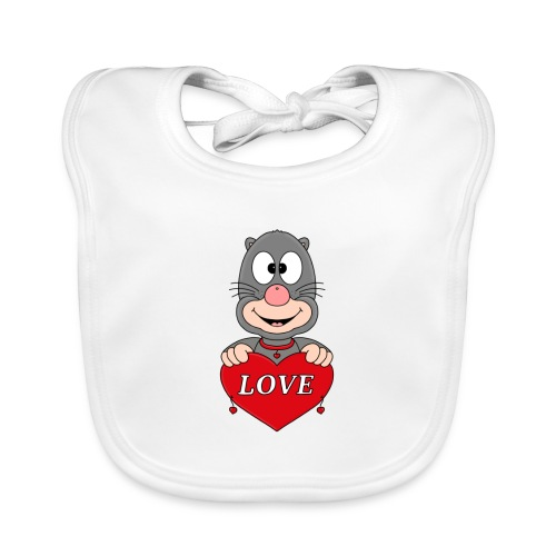 Lustiger Maulwurf - Herz - Liebe - Love - Fun - Baby Bio-Lätzchen