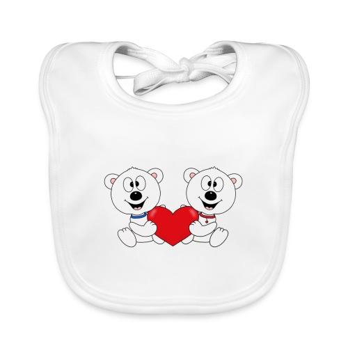 Lustige Eisbären - Herz - Liebe - Love - Fun - Baby Bio-Lätzchen