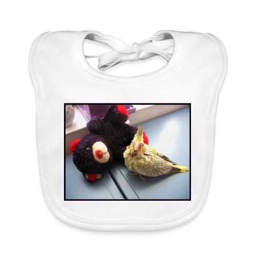 crested perky predator - Vauvan luomuruokalappu