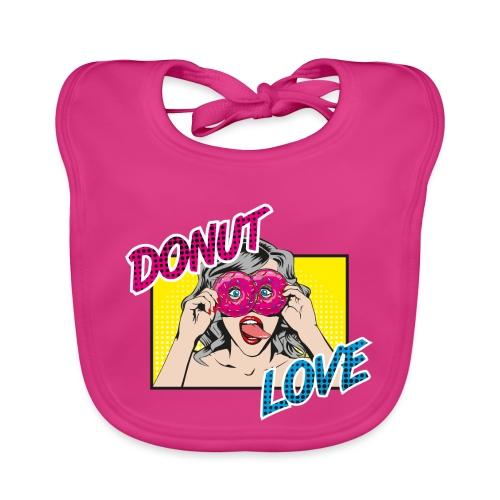 Popart - Donut Love - Zunge - Süßigkeit - Baby Bio-Lätzchen
