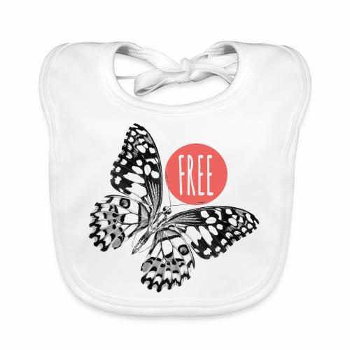 07 Schmetterling FREE Punkt schwarz weiss - Baby Bio-Lätzchen