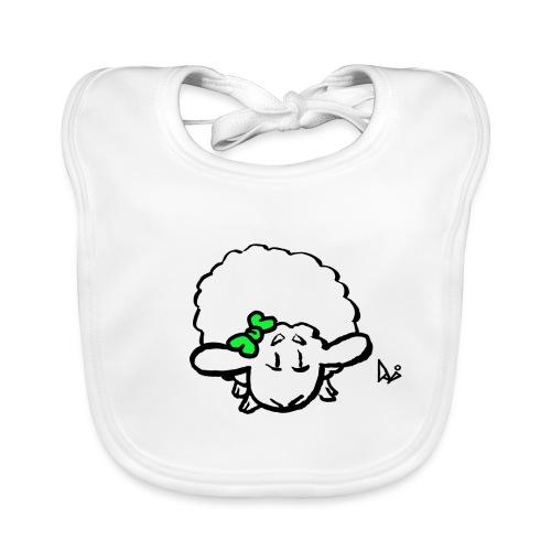 Corderito (verde) - Babero de algodón orgánico para bebés