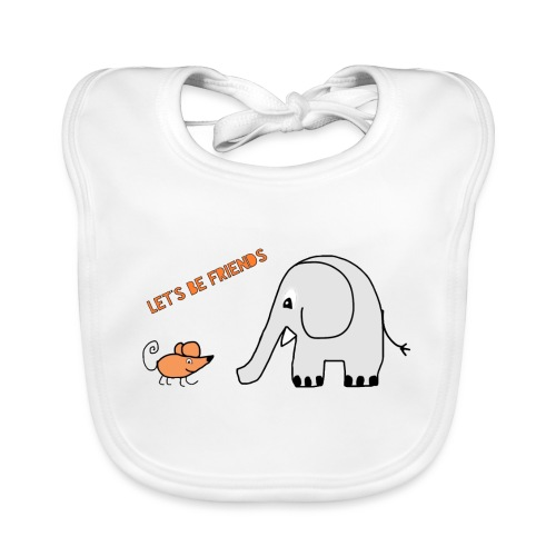 Elephant and mouse, friends - Baby Organic Bib