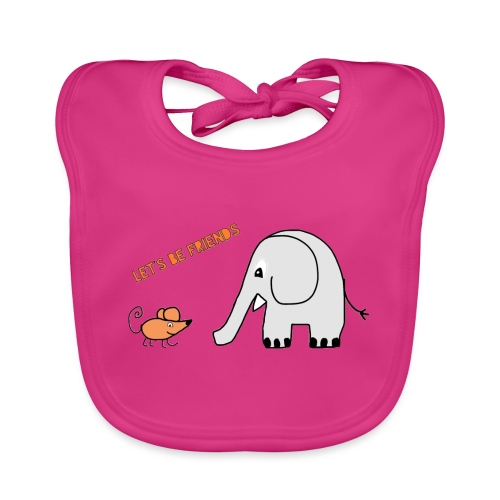 Elephant and mouse, friends - Organic Baby Bibs
