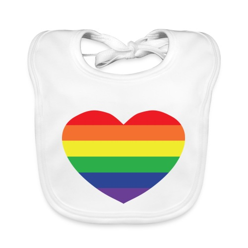 Rainbow heart - Organic Baby Bibs
