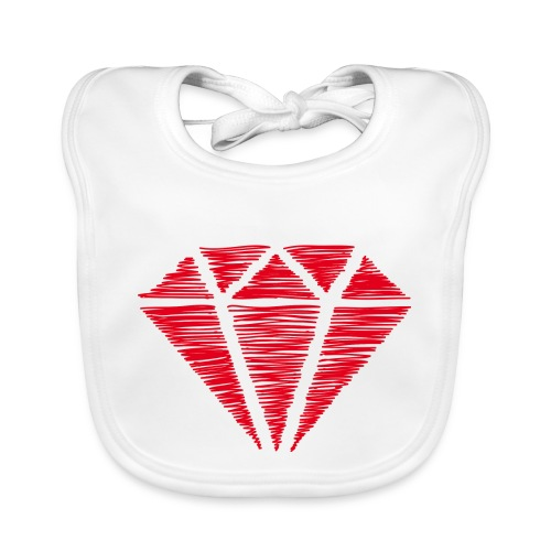 Diamante rojo - Babero de algodón orgánico para bebés