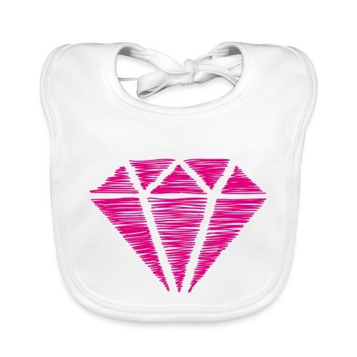 Diamante rosa - Babero de algodón orgánico para bebés