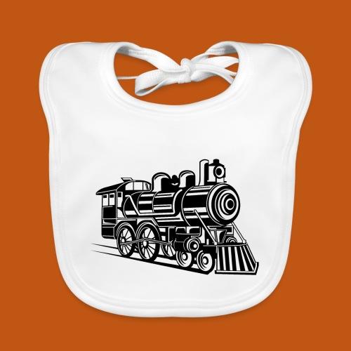 Lokomotive / Locomotive 01_weiß - Baby Bio-Lätzchen