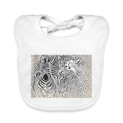 Zebra und Gepard und Musterhintergrund - Baby Bio-Lätzchen