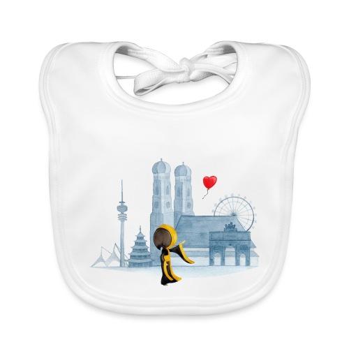Skyline München mit Münchner Kindl und Herz - Baby Bio-Lätzchen