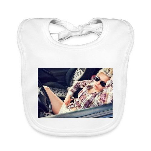 Cool woman in car - Baby Organic Bib