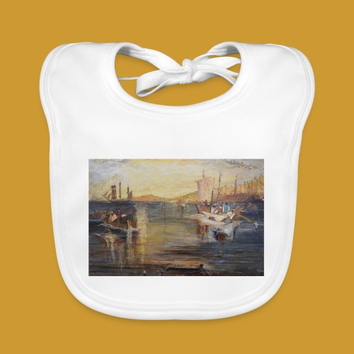 White Fishing - Mark Noble Art - Baby Organic Bib