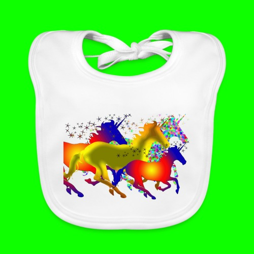 unicorn horses - Ekologisk babyhaklapp