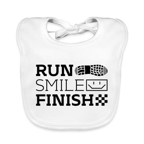Run Smile Finish Marathon-Motto - Baby Bio-Lätzchen