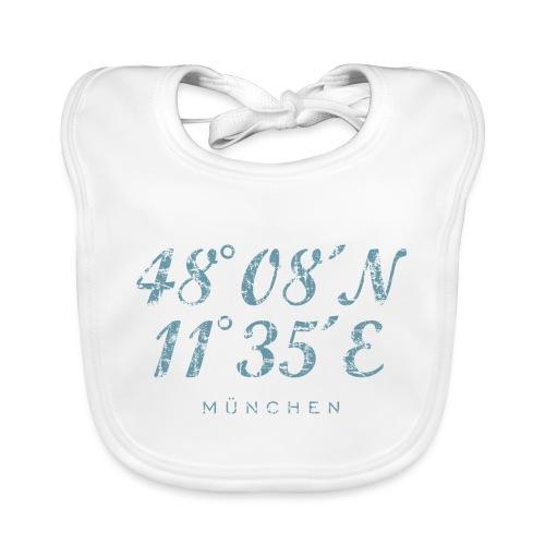München Koordinaten (Vintage Hellblau) - Baby Bio-Lätzchen