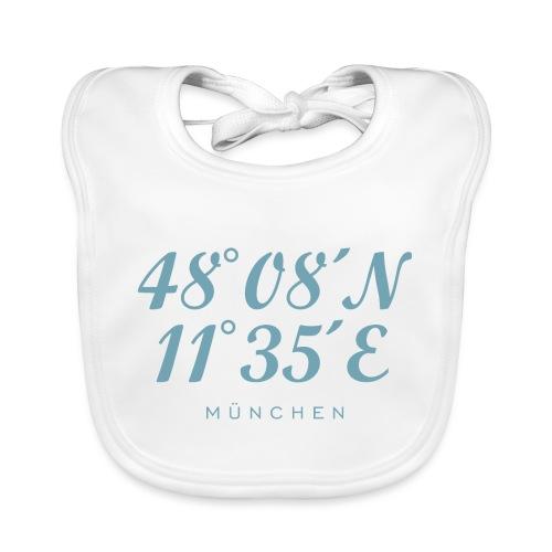 Münchener Koordinaten München (Hellblau) - Baby Bio-Lätzchen