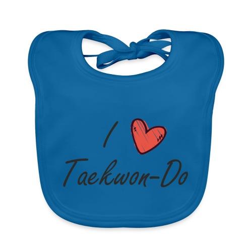 I love taekwondo letras negras - Babero de algodón orgánico para bebés