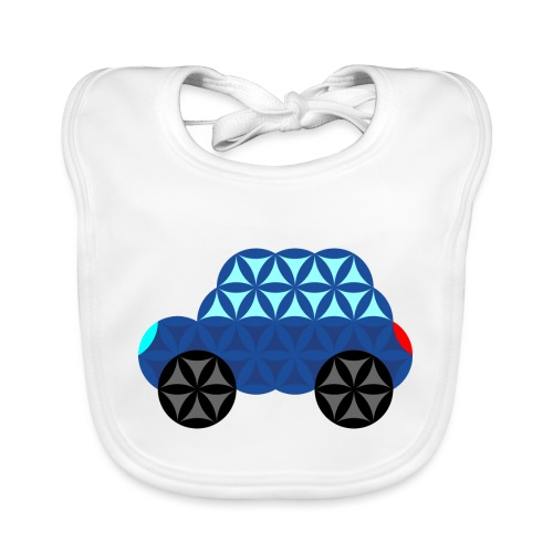 The Car Of Life - M02, Sacred Shapes, Blue/286 - Organic Baby Bibs
