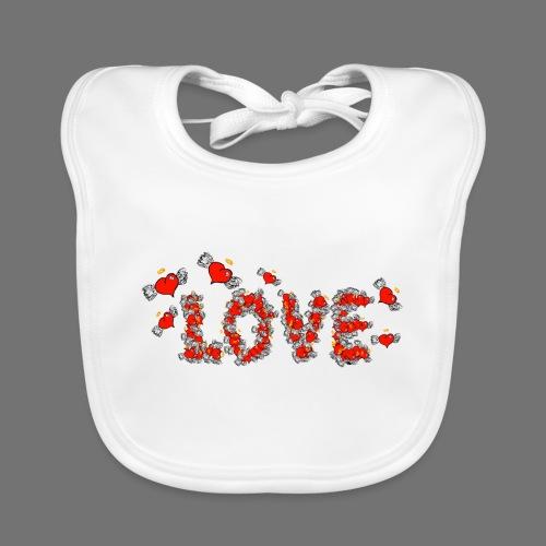 Flying Hearts LOVE - Vauvan luomuruokalappu