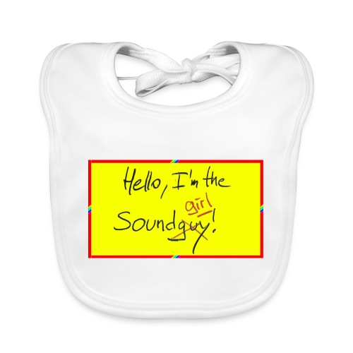 hello, I am the sound girl - yellow sign - Organic Baby Bibs