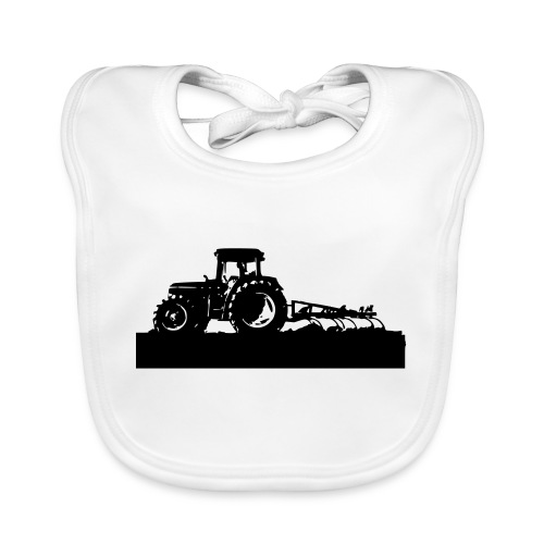 Tractor with cultivator - Organic Baby Bibs