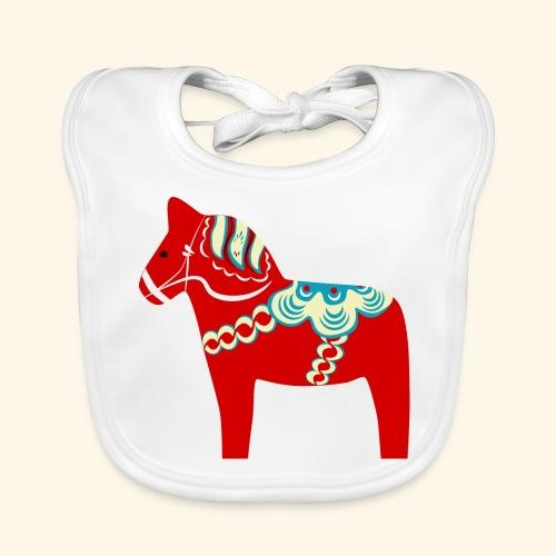 Röd dalahäst - Ekologisk babyhaklapp