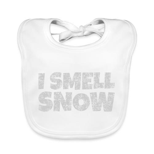I Smell Snow (Grau) Schnee, Winter, Wintersport - Baby Bio-Lätzchen