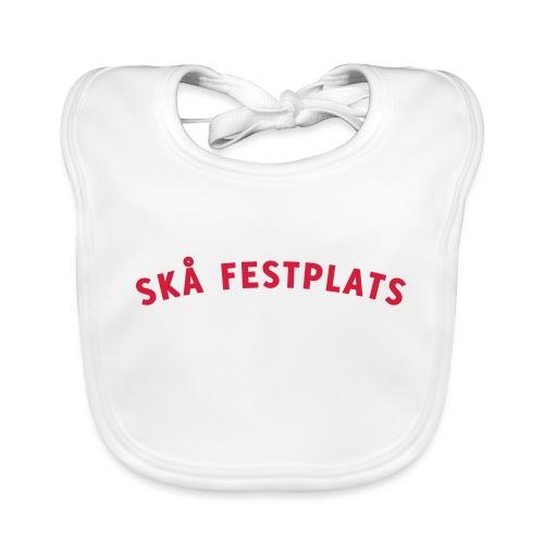 Skå Festplats Logotyp Röd - Ekologisk babyhaklapp