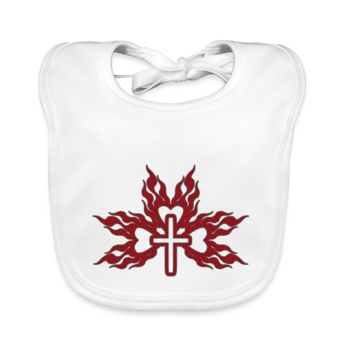 Cross with flaming hearts 01 - Baby Organic Bib