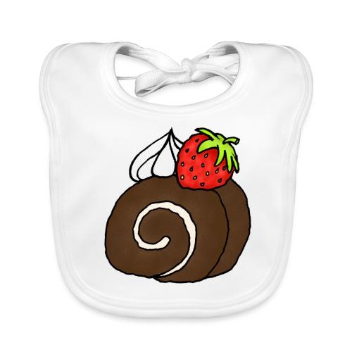 Biskuitrolle Schokolade mit Sahne und Erdbeere - Baby Bio-Lätzchen