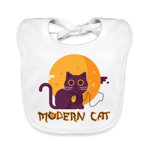gatto moderno animale topo luna arte animale domestico - Bavaglino ecologico per neonato