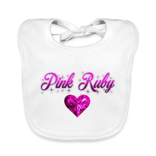 Pink Ruby heart - Ekologisk babyhaklapp