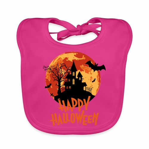 Bloodmoon Haunted House Halloween Design - Baby Bio-Lätzchen