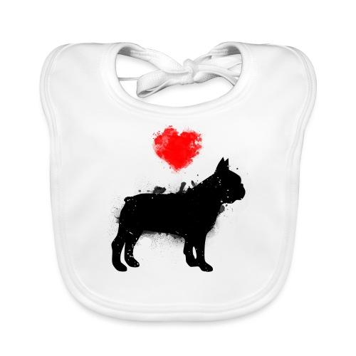 Französische Bulldogge Wunschname - Baby Bio-Lätzchen