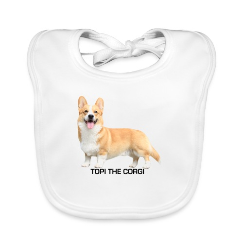 Topi the Corgi - Black text - Organic Baby Bibs