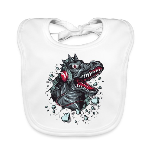 Dinosaurio con cascos - Babero ecológico bebé
