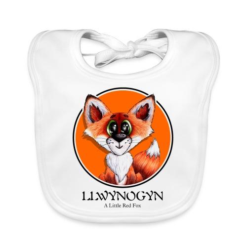 llwynogyn - a little red fox (black) - Baby Bio-Lätzchen