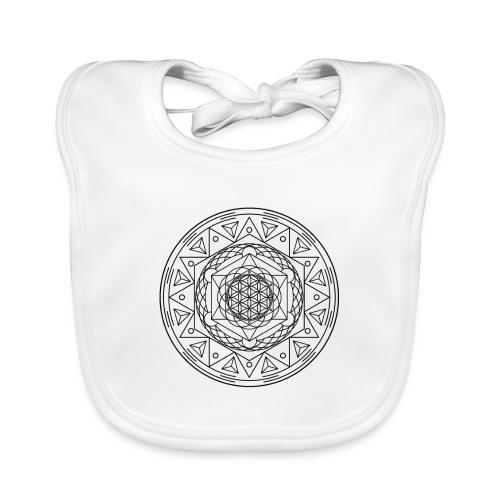 Sacred Geometry TetraFlower Black - Baby Organic Bib
