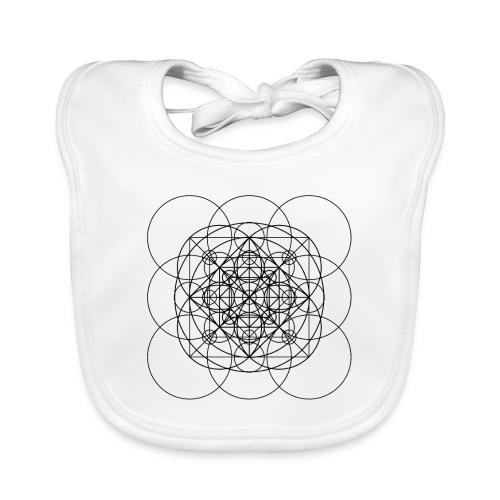 Sacred Geometry Orange Squared Circles Black - Baby Organic Bib