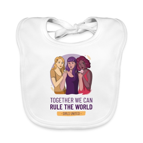 t shirt design generator featuring three women - Babero de algodón orgánico para bebés
