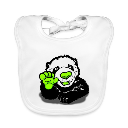 Waving Happy Panda Lime - Baby Organic Bib