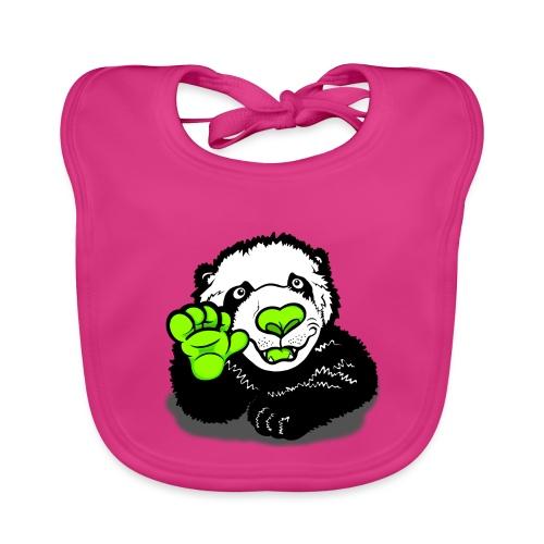 Waving Happy Panda Lime - Baby Organic Bib