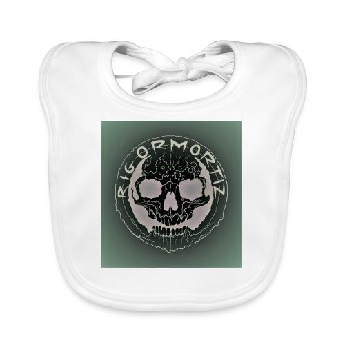 Rigormortiz Dark Solid Background Logo Design - Organic Baby Bibs